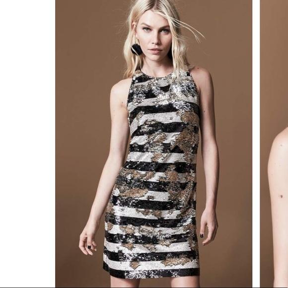 Eliza J Dresses & Skirts - Eliza J. Reversible Stripe Sequin Shift Dress NWT
